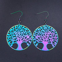 Super Unique arc-en-ciel couleur acier inoxydable mode arbre de vie goutte boucle d'oreille pour les femmes OEM commande acceptée livraison directe