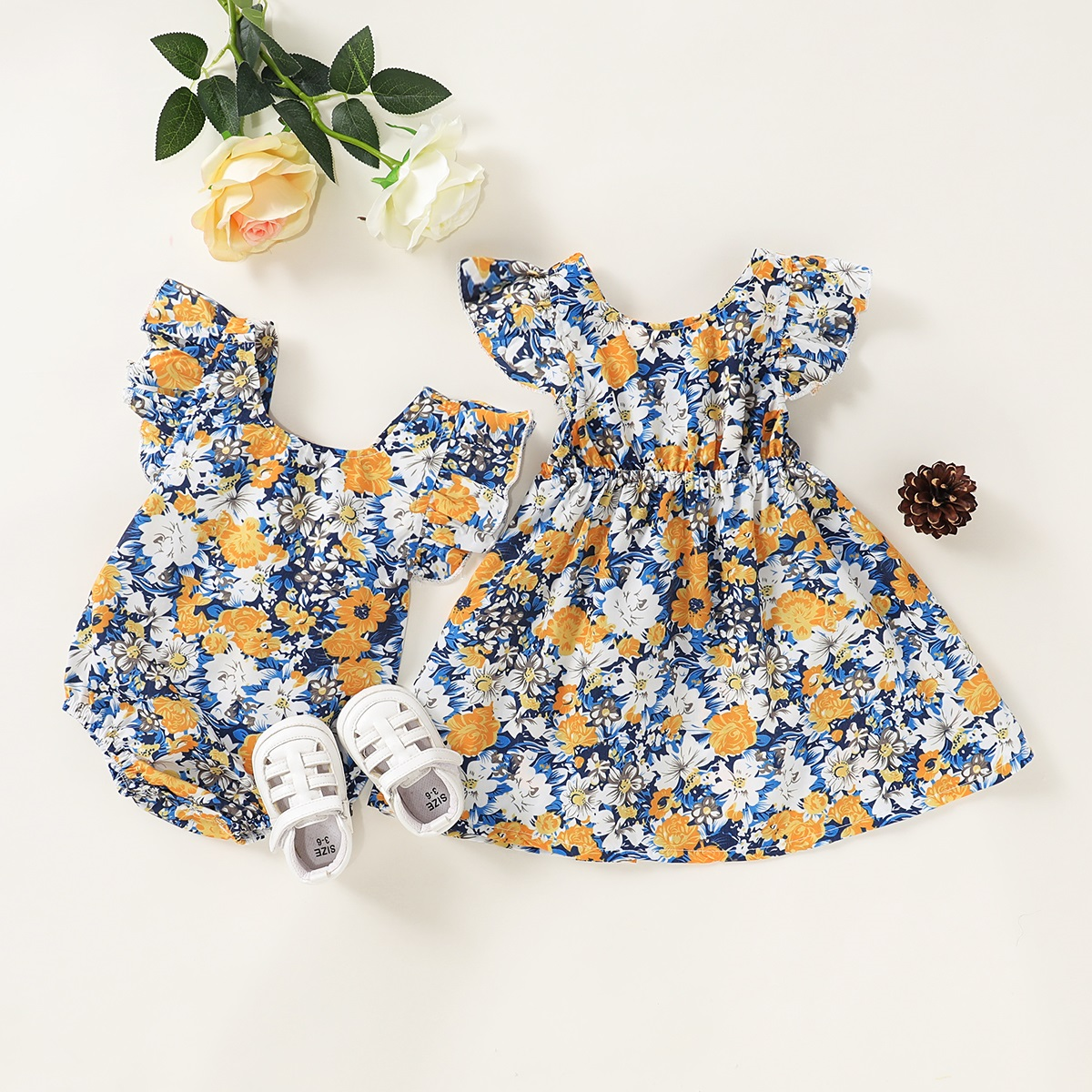 Baby Summer Clothing Newborn Baby Girls Sister Matching Clothes Romper Dresses Jumpsuit Colorful Floral Outfit Set