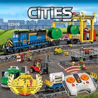 Cidade motorizada controle remoto carga trem hobby 02008 modelo bloco de construção menino tijolo potência lepinblocks compatível com legoingly