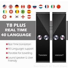 Traductor de voz portátil Multi idioma, T8 + Plus AI Translator Dispositivo de traducción instantáneo en tiempo Real de dos vías en 40 idiomas