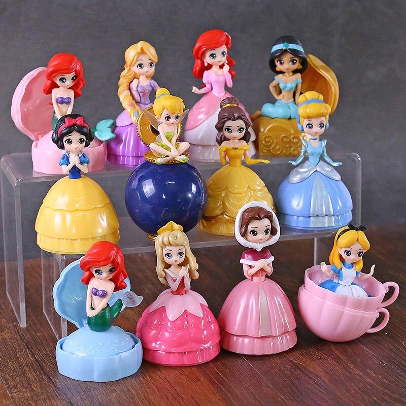 Princesa Brinquedo Bola Flor Fada Sereia Sino Cinderela Princesa Boneca PVC Action Figure toy Collectible Modelo Toy 12 pçs/setFiguras de ação   -