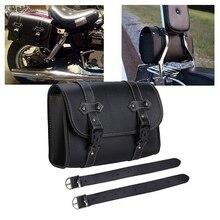 Universal Motorcycle Saddlebag Model Side PU Leather Saddle Bag Front Fork Tail Storage Tool Pouch For Chopper Bobber