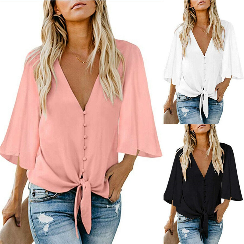 2019 Women Chiffon Blouse Shirt Fashion Sexy BatwingSleeve Womens Tops V-neck Button Blouses Office Ladies Shirts Plus Size