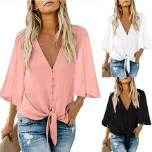 2019 Women Chiffon Blouse Shirt Fashion Sexy BatwingSleeve Womens Tops V-neck Button Blouses Office Ladies Shirts Plus Size
