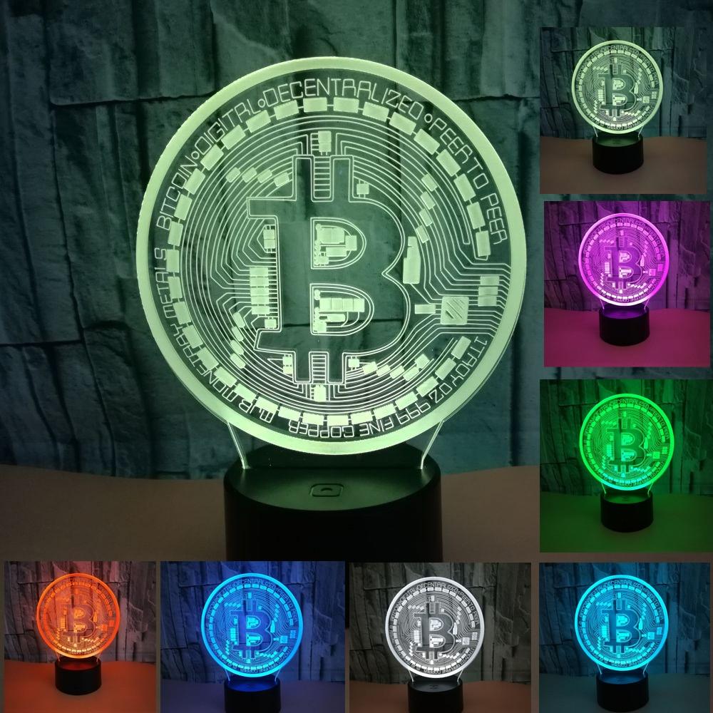 3D usb Led Night Light Bitcoin Sign Modelling Novelty 7 Color Change Light Fixture Bedroom Bedside Decor Desk Lamp Kid Gift|Table Lamps| |  - title=