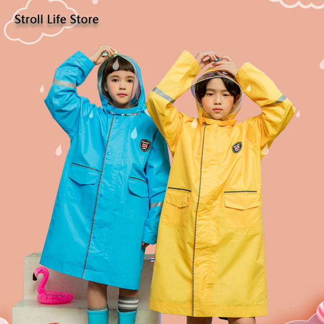 Long Raincoat Kids Rain Ponchos Yellow Jacket Waterproof Suit Blue Rain Coat Reflective Strip Hiking Impermeable Birthday Gift