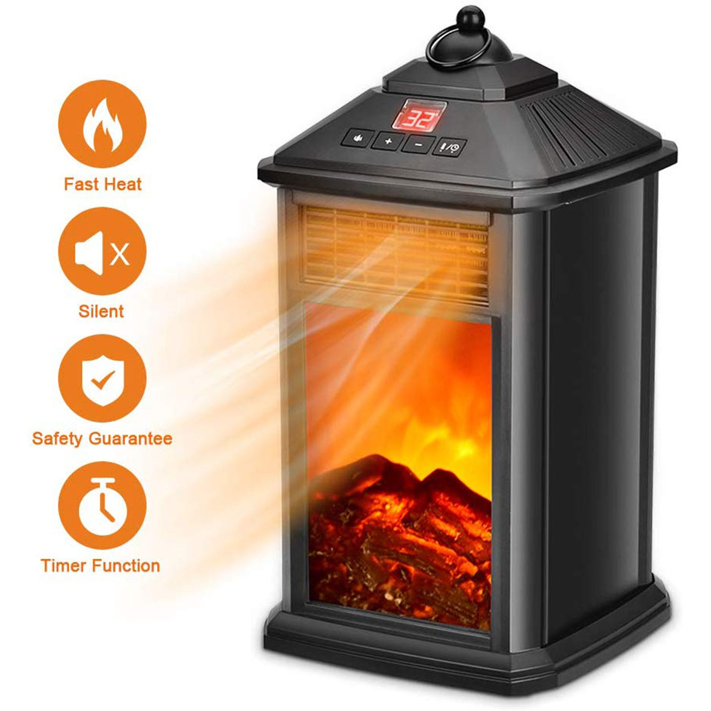 Portable Fireplace Electric Heater 800W With Adjustable Thermostat Overheat Protection WWO66