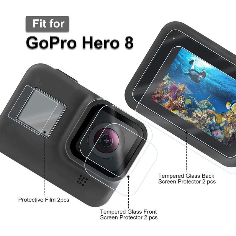 Screen Protector For GoPro Hero 8 Black Tempered Glass Screen Protector + Lens + Small Display Film Accessories For Go Pro Hero8
