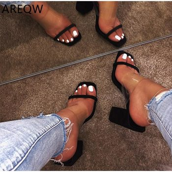 Kobiety przezroczyste sandały damskie buty na wysokim obcasie kapcie cukierki kolor otwarte palce gruby obcas moda kobiece slajdy letnie buty tanie i dobre opinie AREQW Gladiator Plac heel Otwarta Med (3 cm-5 cm) Party Slip-on Pasuje prawda na wymiar weź swój normalny rozmiar Pokrywa heel