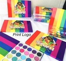 35 farben Tropical Party Matte Glitter Lidschatten Pallete Holographische Regenbogen Disk Highlight Neon Pigment Lidschatten Print Logo