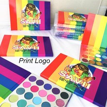 35 Colors Tropical Party Matte Glitter Eyeshadow Pallete Holographic Rainbow Disk Highlight Neon Pigment Eyeshadow Print Logo