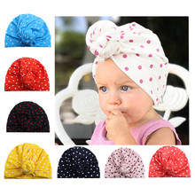 8 Colors Dot Printing Child Ears Cover Hats Europe Style Baby Fashion Hat Indian Children Turban Knot Head Wraps Caps