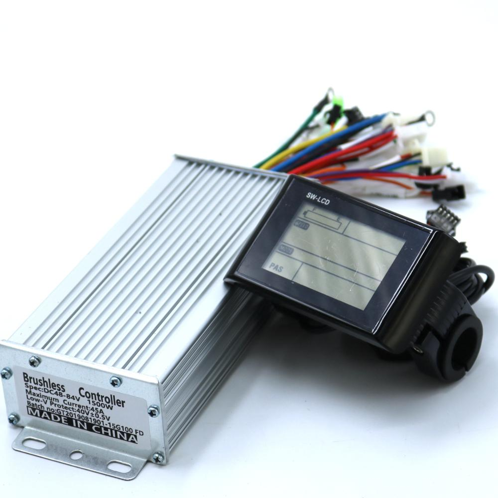 Greentime 48V 60V 1500W 45A Brushless DC Motor Controller Ebike Controller +SW- LCD Display One Set