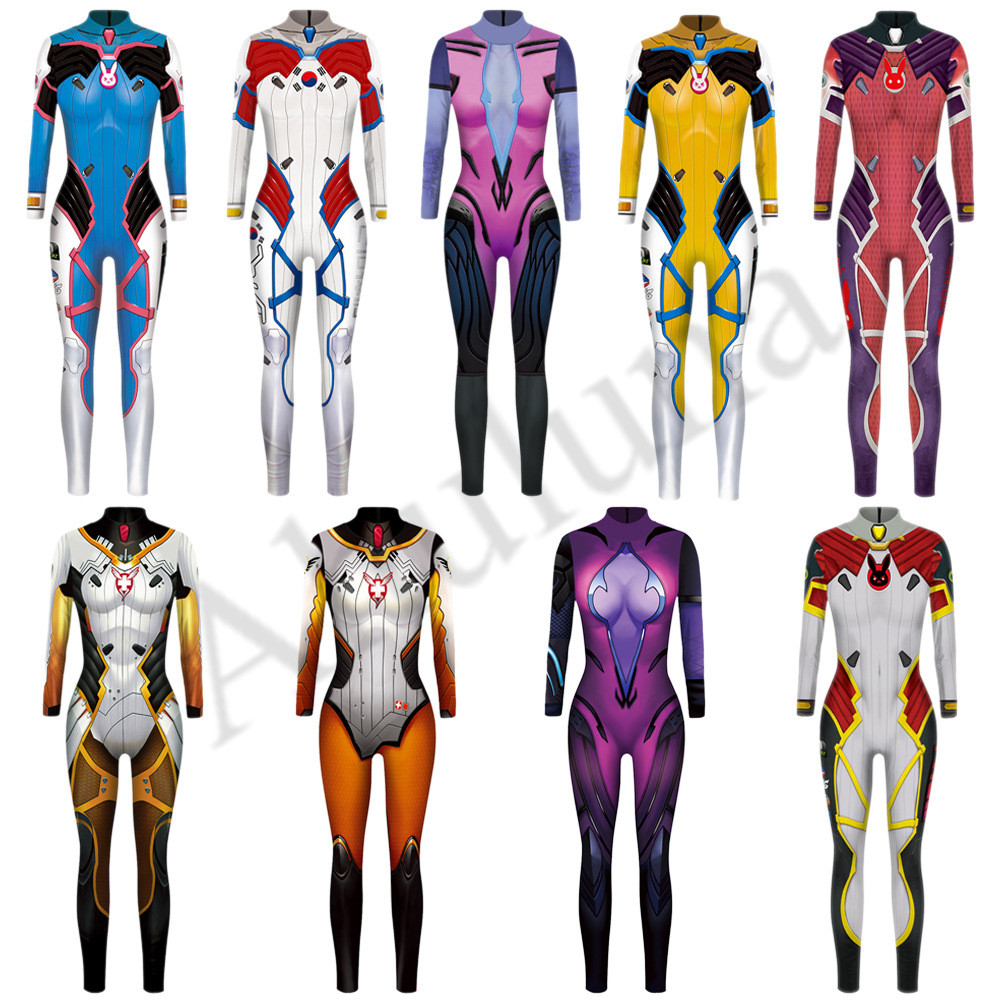 9 Colors Overwatch Cosplay DVA Costume Suit Spandex Polyester Zentai Bodysuit Woman Full Body Halloween Party Costume C133