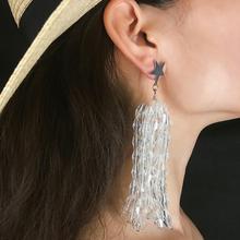 SalirconNew Fashion Crystal Drop Earrings Wedding Bride Jewelry Sweet Full Rhinestone Long Tassel Women Accessories