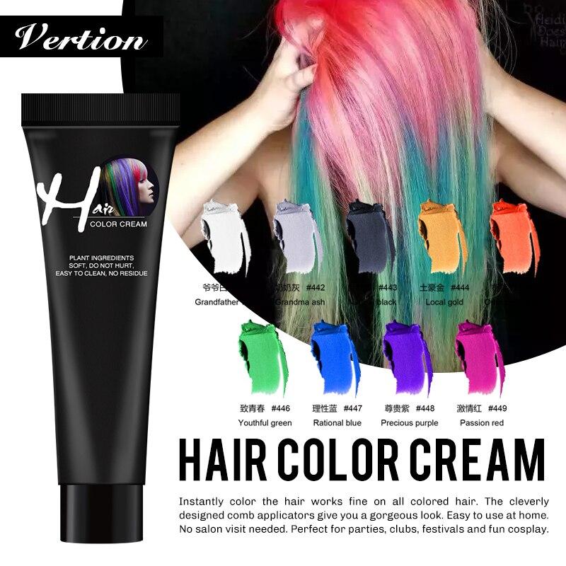 Verntion Disposable Hair Color Hair Color Dye Wax Women Men Hair Styling Dirt DIY Paste Cream Hair Dye Hair Gel Coloring Molding