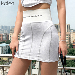 KLALIEN summer cotton women's bodycon skirts fashion office lady wild casual short skirts ladies stretch Slim Soft skirts