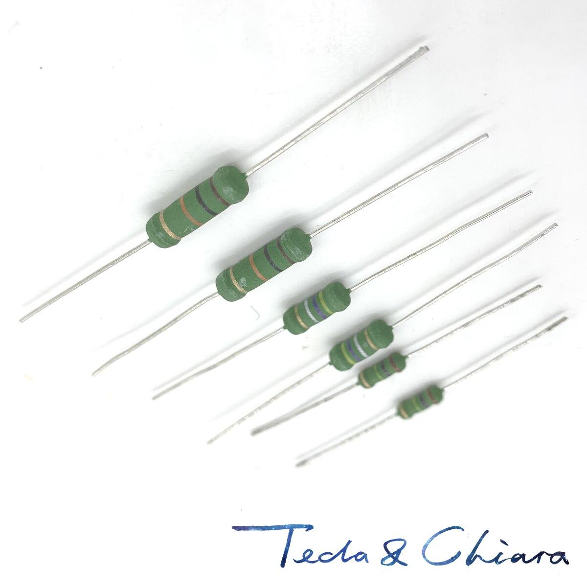 100Pcs 2W 2WS 1K 1.1K 1.2K 1.5K 1.8K 2K 2.2K 2.4K 2.7K 3K 3.3K 3.6K 4x11 Small Metal Oxide Film Resistor Color Ring Resistance