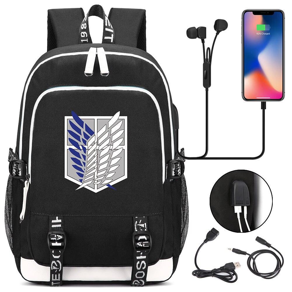Anime Attack On Titan USB Port Backpack Book Bag Rucksack Student School Bag Boys Girls Travel Backpack USB Port Mochila Black
