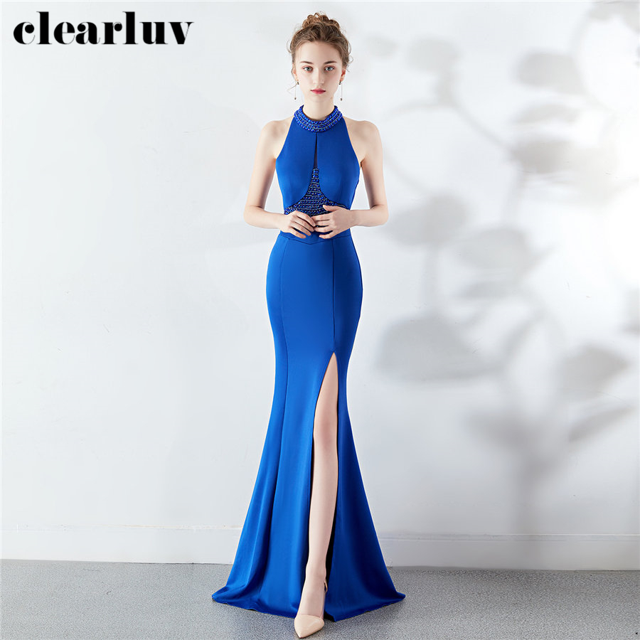 coupon code free delivery purchase cheap Halter Mermaid Dress Slim Backless Robe De Soiree DX282 6 2019 ...