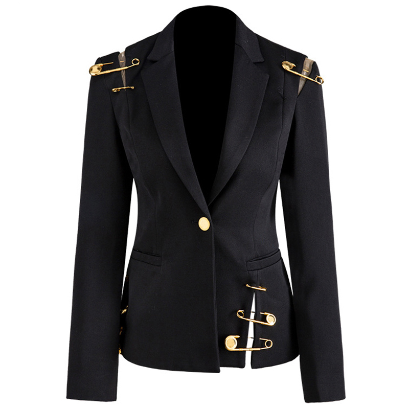 Hollow Out Patchwork Lace Up Women's Blazer Notched Long Sleeve Slim Elegant Female Suit 2020 Autumn Fashion New