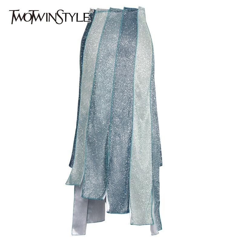 TWOTWINSTYLE Asymmetrical Patchwork Hit Color Skirts For Women High Waist Irregular Hem Skirt Female 2020 Spring Fashion New
