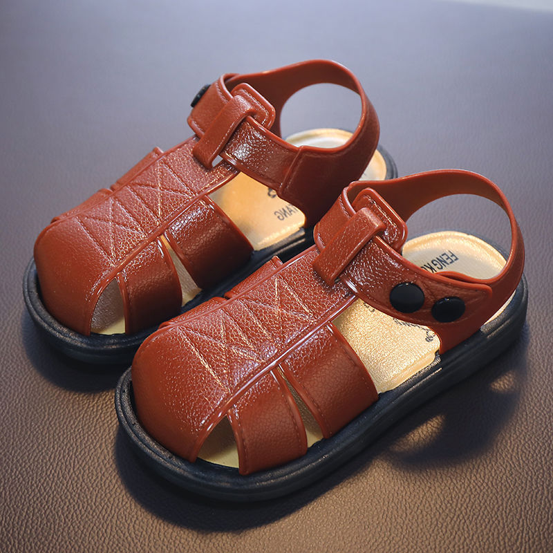 Child Kids Girls Boys Summer Beach Closed Toe Antiskid PU Sandals Infant  Shoes