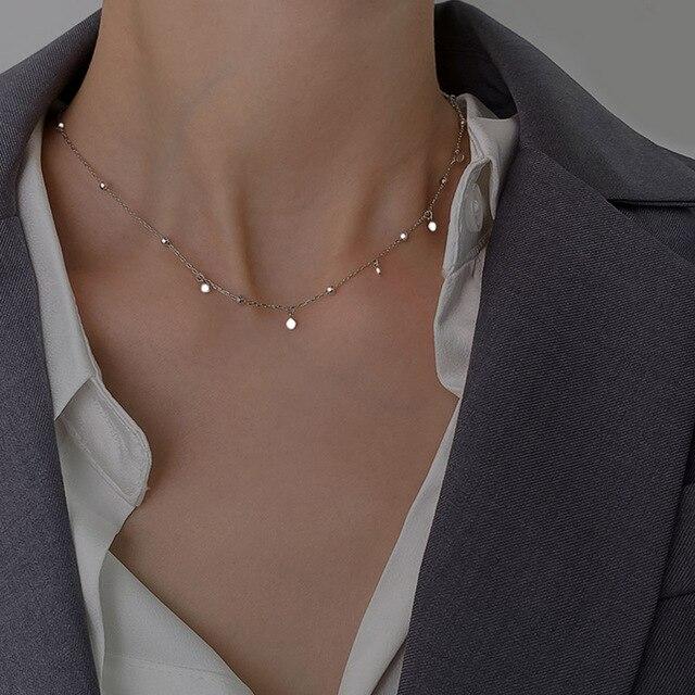 Mulheres Elo Da Cadeia Colar 925 Colar de Prata Gargantilha Geométrica irregular Colares Fine Jewelry Acessórios de Alta Qualidade Bonito