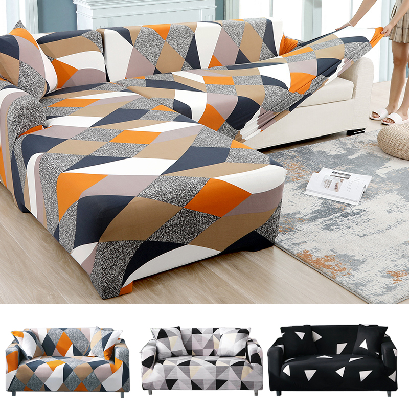 Geometric Stretch Sofa Cover All-inclusive Elastic Slipcove Couch Case For Different Shape Sofa Loveseat Chair L-Style Sofa Case