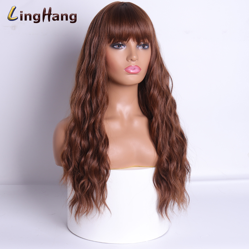 LING HANG Black To Brown Long Hair Wig High-Density Temperature Synthetic Wig 18 Colors Suitable For Black / White Women