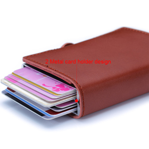 Image 4 - Genuine Leather Men Women Credit Card Holder Security Wallet Big Metal Rfid Blocking Double Box Creditcard Case Bag Protection