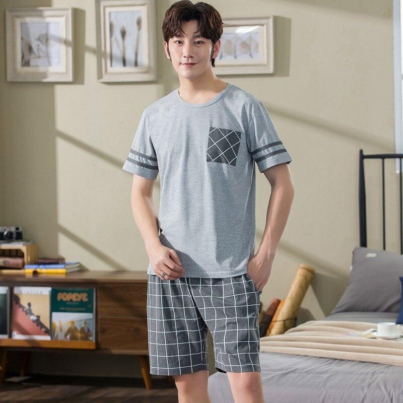 2020 Summer Short Sleeve Cotton Pajama Sets For Men Casual Pants Sleepwear Pyjama Outwear Male Homewear Lounge Wear Home Clothes