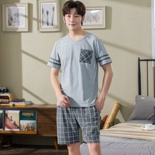 2020 Summer Short Sleeve Cotton Pajama Sets for Men Casual P