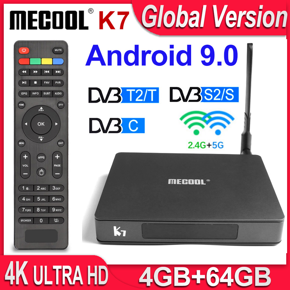 MECOOL K7 Receptor Satellite Receiver DVB-T2 DVB-S2 DVB-C 4K TV Box Android 9.0 4GB 64GB Amlogic S905X2 2.4G/5G Dual WiFi USB3.0