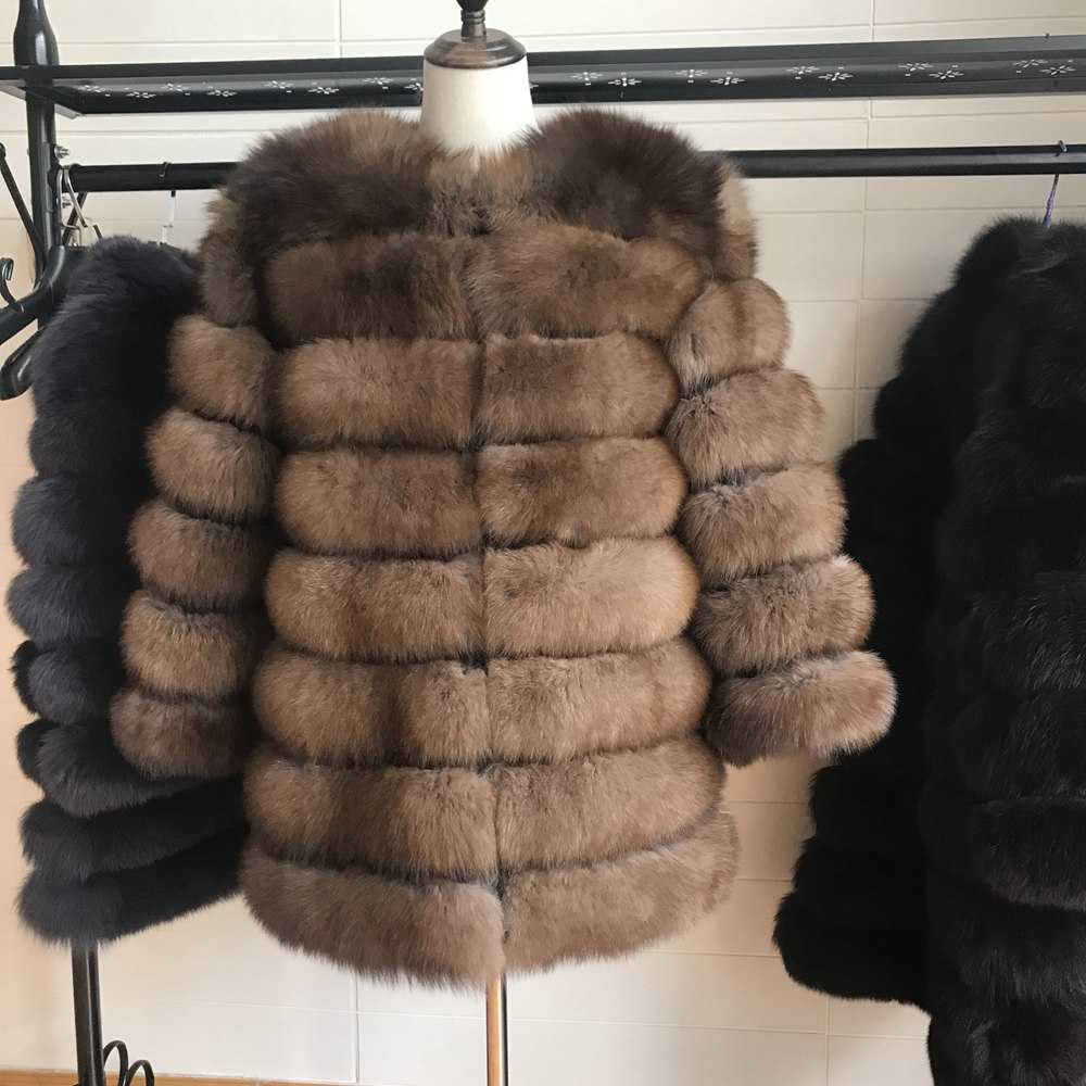 70CM New Women Warm Real Fox Fur Coat Short Winter Fur Jacket Outerwear Natural Blue Fox Fur Coats For Women Hot Promotion