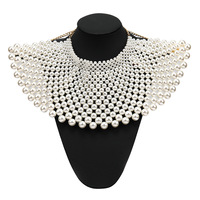 New Hyperbole Multi Layer Geometric Pearl Beads Choker Wide Necklace Women Ethnic Fake Collar Necklaces Jewelry Collares Grandes