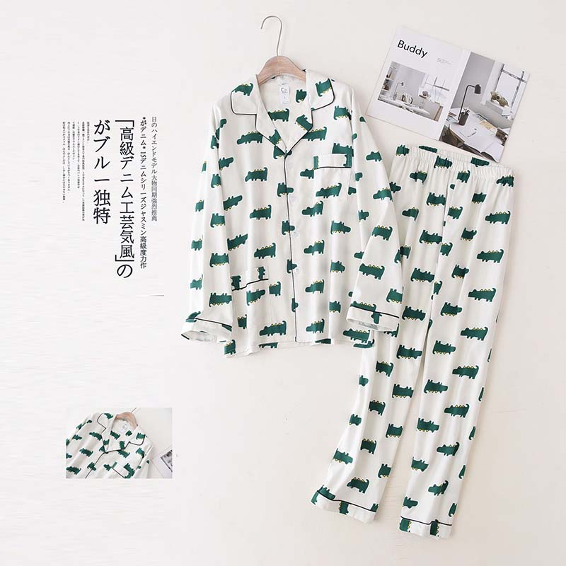 Best Selling Men's Pajamas Set Spring And Autumn Fresh Style Long Sleeve+Pants  Full Cotton Comfort Homewear Loose Casual Wear
