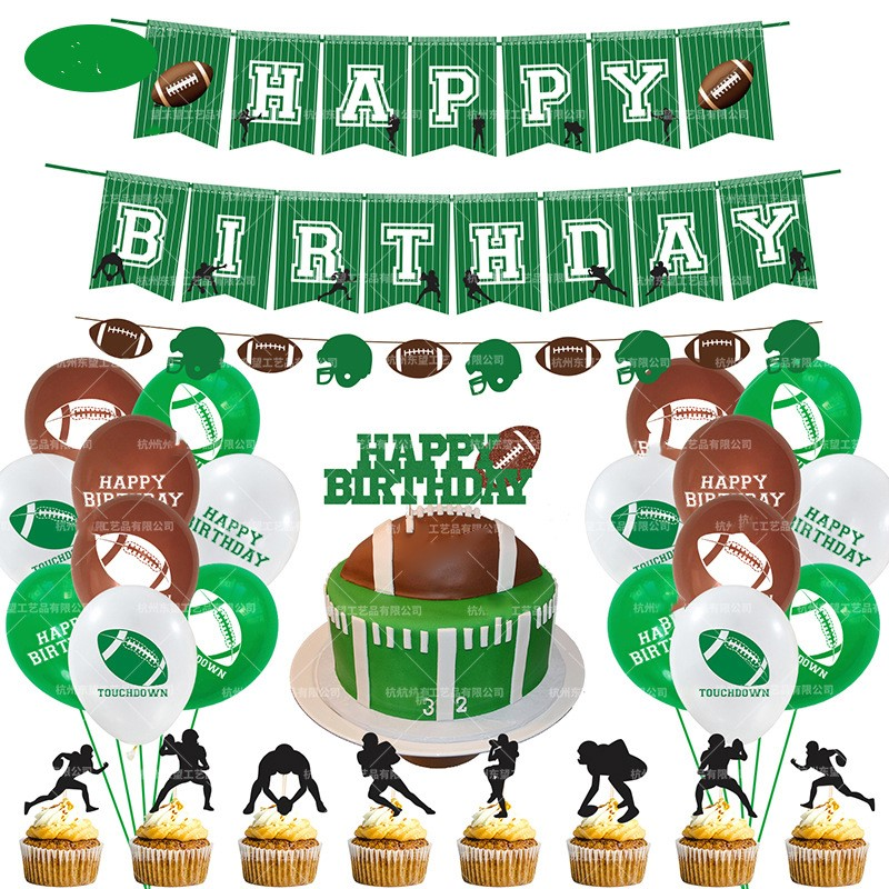Rugby Theme Baby Party Decorations Set Newborn Baby Boys Girls Birthday Party Baby Shower Party Children's Day