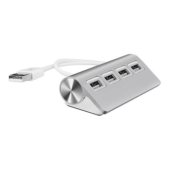 USB HUB, Premium 4 Port Aluminum USB Hub with 11 inch Shielded Cable for iMac, Mac Books, PCs and Laptops