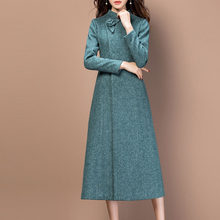 Elegant Wool Coat Dress Women Office Ladies Slim Woolen Long Sleeve Blazer Outerwear Female Autumn Fall Winter Overcoat Dresses(China)