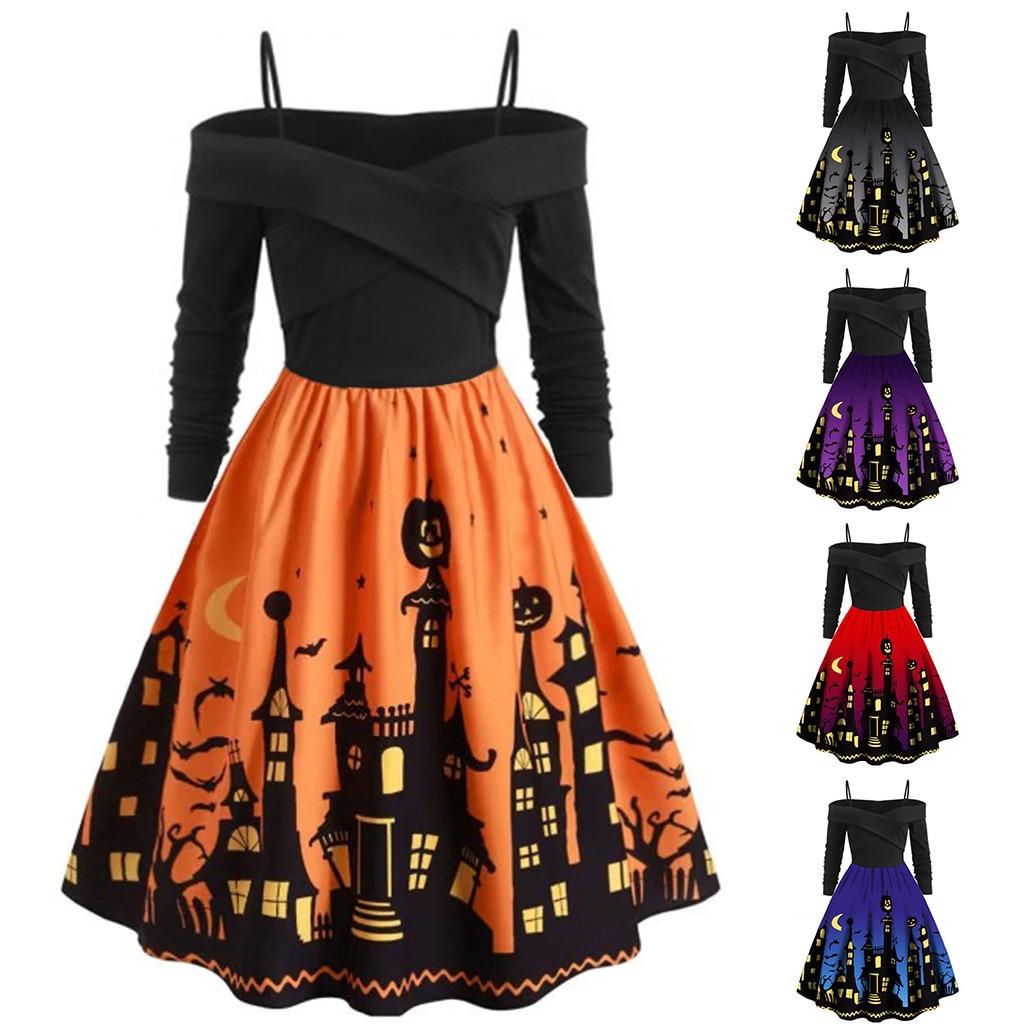 Women Pumpkin Party Print Dress Halloween Long Sleeve V 0