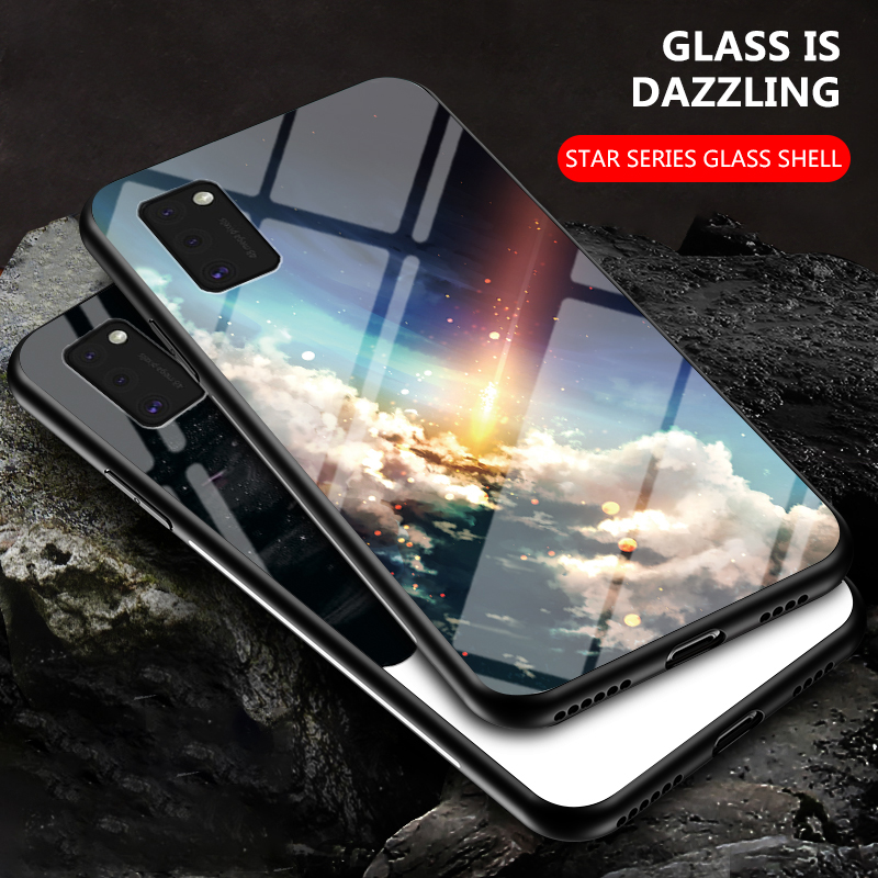 Phone Case for Samsung Galaxy A41 Case Cover Starry Sky Tempered Glass Soft TPU Silicone Case for Samsung A41 A31 A51 A71 A50