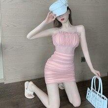Женское Сетчатое платье на бретелях-спагетти, розовое Плиссированное короткое тонкое платье в западном стиле с открытыми плечами и облегаю...