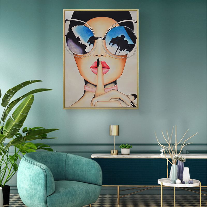 Sexy Red Lips With Big Glasses Canvas Painting – Poster Only. No Frame