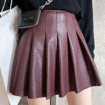 Short Skirt  Autumn Winter Female Black Mini High-Waist Vintage Fashion Women Plus Size Pleated