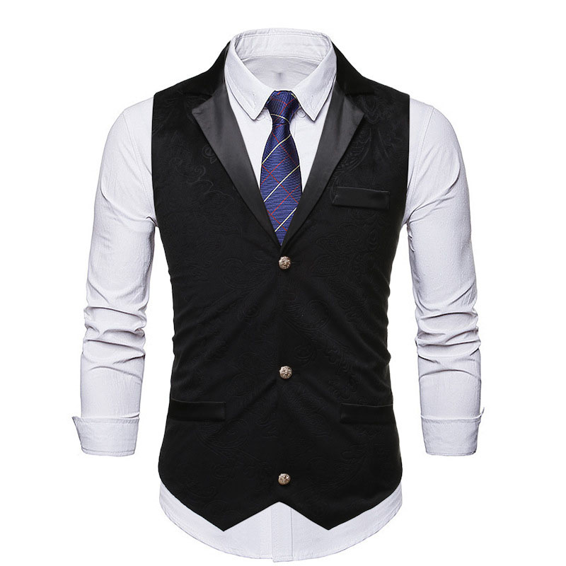 Mens Suit Vest 2019 Fashion Black Jacquard Formal Business Vests Waistcoat Men Gilet Party Wedding Tuxedo Vest Chaleco Hombre