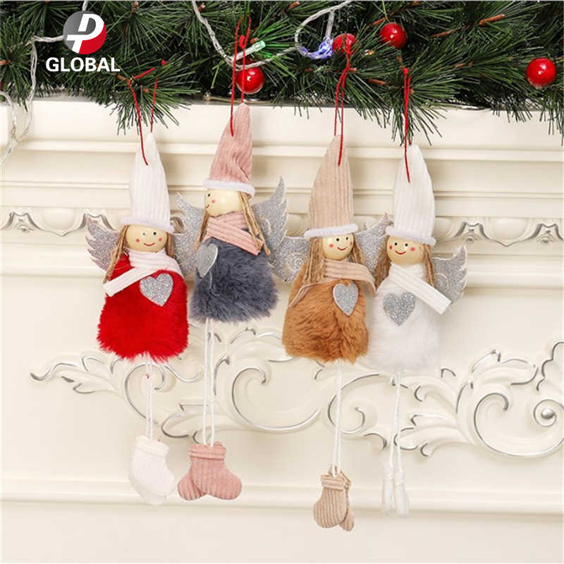 D&P 1PCS 10*26 cm Christmas Plush Cute Angel Doll Pendants Christmas Tree Hanging Ornaments New Year Children Gift lovely Toys