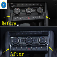 Yimaautotrims Middle Control Air Conditioning Panel Cover Trim Fit For Skoda Kodiaq 2017 2019 Black Brushed / Auto Accessory