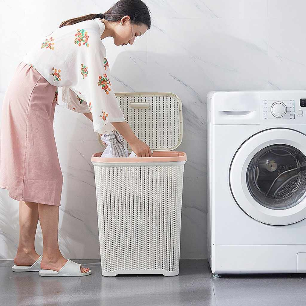 Grande Cesta de Lavanderia Lavar Roupa Cesta De Armazenamento Rattan Plástico Estilo Lavar Roupas Sujas Saco De Armazenamento Organizador 2020 hot