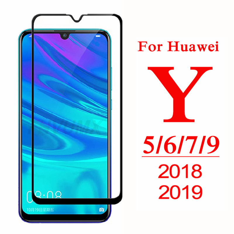 9D Full Cover Protective Glass For Huawei Y5 Y6 Y7 Y9 Prime 2018 Tempered Glass Y5 Lite Y 5 6 7 9 Pro 2019 Screen Protector Film